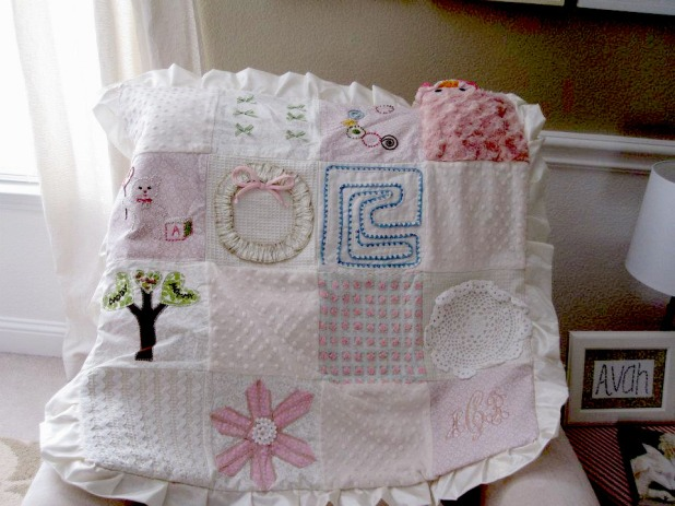 baby blanket I made- monogram in bottom right hand corner by Tina Marie Creations