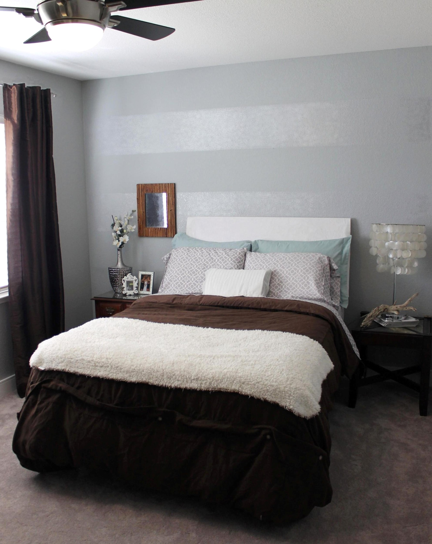 Tone on tone striped accent wall mrs the misc - Bedroom accent wall ...