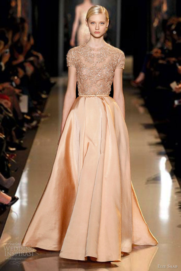 elie-saab-couture-2013-melon-peach-blush-silk-shantung-gown-embroidered-lace-guipure-bodice