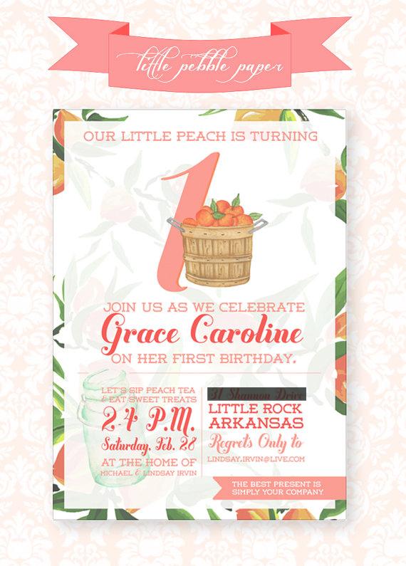 First Birthday Party Sweet Little Peach Georgia Peach Sweet Tea